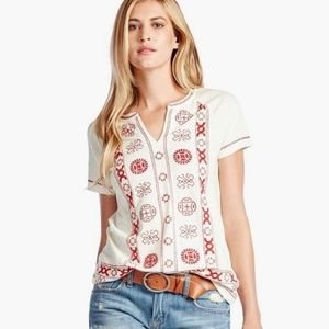 NWT ✨ Lucky Brand Circle Embroidered Top